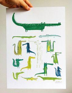 Los cocodrilos ya están disponibles en la tienda // Now available the crocodiles print in the shop https://www.etsy.com/listing/151684501/crocodiles-print?ref=shop_home_active