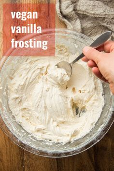 Dairy Free Vanilla Frosting, Vegan Buttercream Frosting, Healthy Frosting, Frosting Recipes, Vegan Sweets, Vegan Desserts, Vegan Recipes, Dessert Drinks, Dessert Recipes