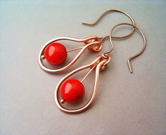 Wire Wrapped Earrings Copper and Red Carnelian by GearsFactory