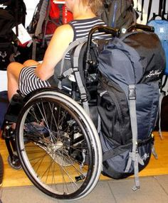 Backpack that fits well with wheelchair  Narrow backpack model, fits well for long trips with wheelchair.