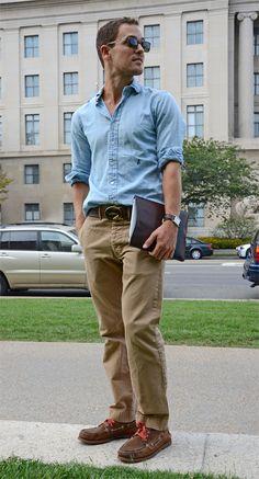 Chambray shirt, khaki pants