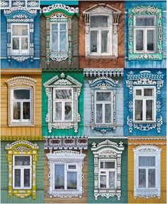 In Russia a window is more than just a window to look out of. A window is also the way to look into the soul of the Country and hence it is very important that windows are dressed properly at all times….  This picture is what you will see as windows throughout the villages as you travel in Russia. Even the colors are very typical of what you will see. Russia is sometimes referred to as a nation of woodcutters, and this tradition is evident in their wooden windows.
