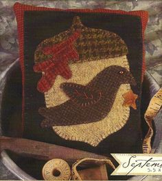 Primitive Folk Art Wool Applique Pattern by PrimFolkArtShop, $5.00