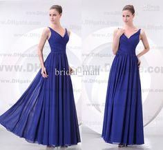 Wholesale Cheap ruffle V neck blue bridesmaid dresses long chiffon Sexy formal evening dresses BM729, Free shipping, $67.2-76.16/Piece | DHgate