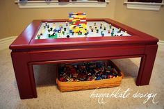 DIY Lego Table - this would be a good way to repurpose our end tables that I don't like.  :)