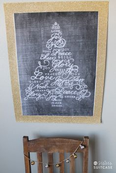 Make this glittery Christmas chalk art for less than $5 via sisterssuitcaseblog.com #christmas #chalkboard #decor