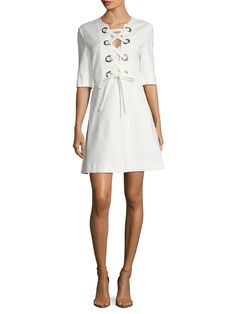 Balta Cotton Lace Up Flared Dress from Max Mara on Gilt