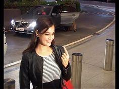 Dia Mirza at Mumbai Airport seen leaving for IIFA awards 2014.