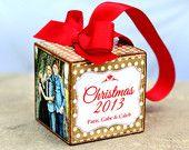 No.38 Christmas Polka Dots Burlap Custom Photo Block Ornament