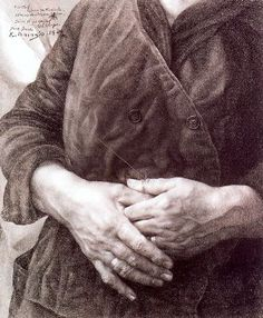 """Eduardo Naranjo """"Las Manos de mi Madre"""" 1974, Pencil on paper. 35x29 cm"""