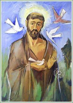 S.Francisco Catholic Saints, Patron Saints, St Francis Assisi, San Francisco, Angel And Devil, Christian Art, Cool Pictures, Illustration, Painting