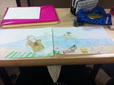 Divertido juego para realizar con niños, crean un dibujo a raíz de una imagen recortada de una revista y las unen para crear una gran hilera de imágenes.