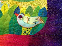 AQS Instructor and quilt artist Laura Wasilowski has a tip about batting: watch for the scrim! She makes fused art quilts and is here to share the importance of knowing about the scrim when you want to achieve a flat fused surface on your quilt. Bird Applique, Iron On Applique, Wool Applique, Applique Quilts, Hand Embroidery Stitches, Hand Stitching, Bird Quilt, Embroidered Quilts, Thread Art