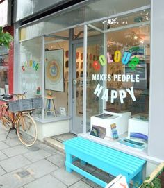 Colour Makes People Happy | London... love the simple blue bench seat...  Love this color