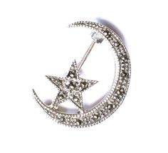 Sterling Moon Star Brooch Marcasite Jewelry Art by silvermoonstars