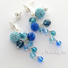 Swarovski Crystal Long Earrings,Sapphire Blue Wedding Jewelry