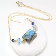 Labradorite, Blue Topaz, Sodalite pendant gemstone layering necklace, 14k gold filled chain, Gift for Her, Birthday Gift by JewelleryHaven on Etsy https://www.etsy.com/sg-en/listing/292761395/labradorite-blue-topaz-sodalite-pendant