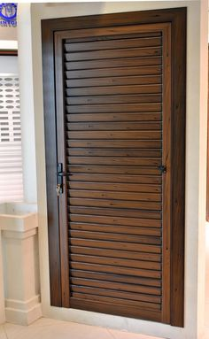 Be Creative Using Louvered Doors For Home Decorating Ideas: Stunning Aluminium Louvered Doors With Door Molding And Tile Flooring For Home Decoration Ideas Room Door Design, Wooden Door Design, Door Design Interior, Main Door Design, Interior Barn Doors, Exterior Doors, Entry Doors, Front Entry, External Wooden Doors