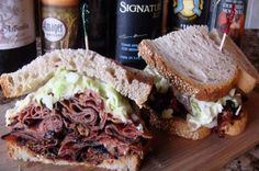 Pastrami Sandwich - juicy pastrami on soft rye bread with your choice of a deli sauce (horseradish deli sauces are good or thousand island dressing), melted Swiss, and homemade coleslaw (KFC slaw would work)