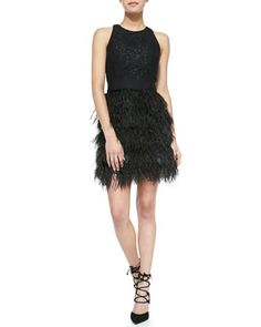 Blair Sleeveless Feather-Skirt Dress by Milly at Neiman Marcus.| FG / Yang G