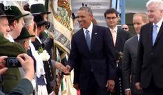 @BarackObama - Handshake mit den Trachtlern am Roten Teppich in Muc. #G7-Gipfel