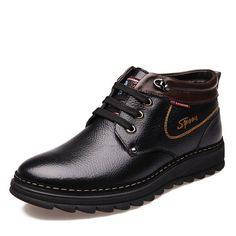 Genuine Leather Men Boots Warm Plush Winter Shoes Casual Ankle Martin Snow Boots With Fur Outdoor Rubber Botas Hombre RME-162