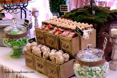 vintage candy buffet, choc bar, cake cones by Sweet Requests, Beaumont, Texas