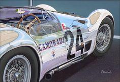 "Maserati ""Birdcage"" Automotive Art - Originals Richard Wheatland  http://woiweb.com/wiki/index.php?title=Maserati_Birdcage"