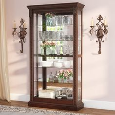 Darby Home Co Nancy Lighted Curio Cabinet Color: Medallion Cherry Living Room Trends, Colorful Chairs, Dining Furniture, Glass Furniture, Davis Furniture, Cabinet Furniture, Cabinet Colors, Furniture Arrangement, Glass Shelves