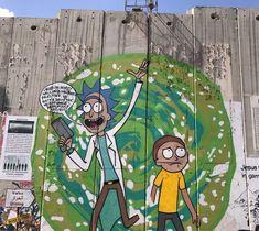 Graffiti Artist Paints 'Rick And Morty' On West Bank Separation Barrier - Forward 3d Street Art, Street Art Graffiti, Graffiti Artists, Metal Art Sculpture, Abstract Sculpture, Bronze Sculpture, West Bank Wall, Rick And Morty Time, Portal Art