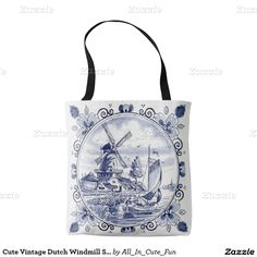 Cute Vintage Dutch Windmill Sailboat Delft Blue Tote Bag. Beautiful, elegant, typical and customary Dutch windmills and farm landscape scenery design. This ornate, elegant and funky hipster motif was created for the lover of traditional Delfts Blue pottery and ceramics from the Netherlands.