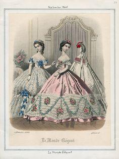 Le Monde Elegant, September 1864. LAPL Visual Collections.  Civil War Era Fashion Plate