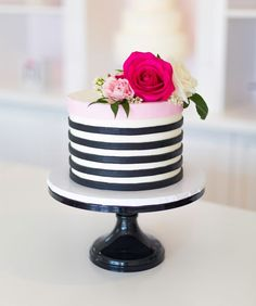 Custom Gourmet Buttercream Cakes and Cupcakes along with Mini Desserts, Iced Sugar and Gourmet Cookies, Cake Pops, Pies and more. Beautiful Wedding Cakes, Beautiful Cakes, Amazing Cakes, Pretty Cakes, Cute Cakes, Striped Cake, Gateaux Cake, Cakes For Women, Cake Delivery