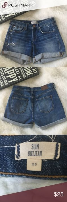 Madewell Slim Boyjean Shorts Super cute distressed high rise cut off jean shorts!  Excellent condition! A great way to welcome in spring! Would keep them but they are too small for me. Perfect for you if you wear a size 25 in madewell jeans!  Madewell Shorts Jean Shorts