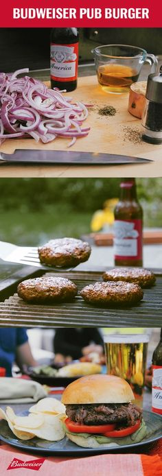 Take your grilling game to the next level. For your caramelized onion jam, start by sautéing red onions and then add Budweiser, brown sugar, and vinegar for 30-35 minutes. For your patties, mix together ground beef, Budweiser, barbeque seasoning, and thyme. Grill for 4 to 5 minutes per side. Serve them up on toasted buns with lettuce, tomato, and a huge dollop of jam. You're going to want to wash this one down with a cold Bud.