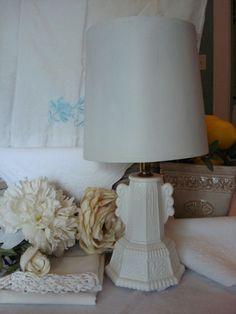 Vintage White Milk Glass Vanity Lamp Shabby by RococoCatStudio, $72.00