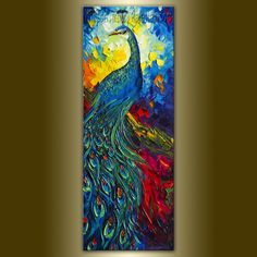 Original Peacock Oil Painting Textured Palette Knife