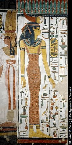 Selqet, detail from the frescoes in the burial chamber of Nefertari, Valley of Queens, Luxor, Thebes (Unesco World Heritage List, 1979). Egyptian civi...