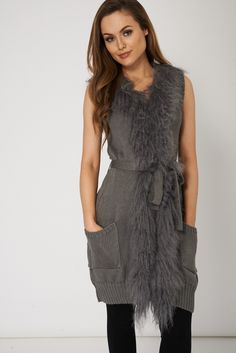 Belted Sleeveless Cardigan With Faux Fur for £9.99.