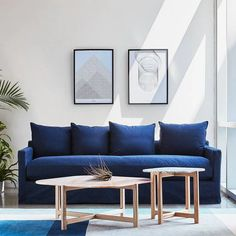 Gus* Modern Carmel Sofa - Washed Denim Indigo - View online from Tuck! $2,900.00
