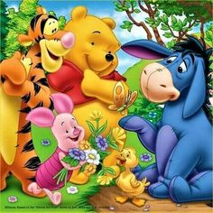 """Tigger, Pooh, Piglet, and a Little Ducky Giving Eeyore Some Fresh Picked Flowers. """"Winnie the Pooh and Friends"""""""