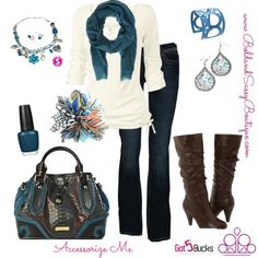 Totally love the cream and blue mix. Check out how easy and fashionable this is by adding a nice spray of different colors with your accessories can make this winter outfit dazzle!