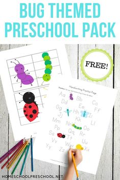 Preschoolers will work on early math and literacy skills with this pack of preschool insect theme printables. 50 pages of learning fun! #bugthemepreschool #bugpreschoolactivities #preschoolprintables #homeschoolprek