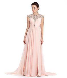Terani Couture Beaded Illusion Chiffon Gown | Dillard's Mobile