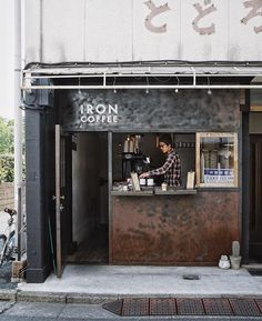 Iron Coffee, Tokyo 📷 love the look of this coffee shop & so appropriately named. Happy Thursday - it's going to be a… Coffee Shop Names, Small Coffee Shop, Coffee Shop Bar, Coffee Store, Coffee To Go, Coffee Cafe, Container Coffee Shop, Cafe Shop Design, Shop Facade