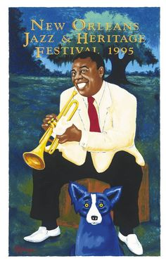 Louis Armstrong and Rodrigue's Blue Dog - New Orleans Jazz and Heritage Festival  Poster 1995.