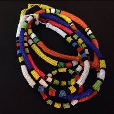 Zulu necklaces assorted colors Hand beaded by women of the Zulu tribe in South Africa Jewelry Necklaces
