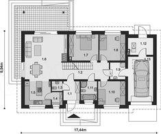Projekt domu Tamara modern 111,42 m2 - koszt budowy - EXTRADOM Bedroom House Plans, Home Projects, My House, Floor Plans, Flooring, How To Plan, Modern, Home Plans, Homes