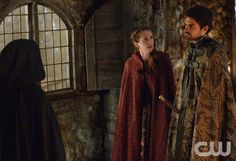 """Reign -- """"Mercy"""" -- Image Number: RE210a_0155.jpg -- Pictured (L-R): Adelaide Kane as Mary, Queen of Scotland and France (back to camera), Kaitlyn Riordin as Sandrine and Sean Teale as Conde -- Photo: Ben Mark Holzberg/The CW -- © 2014 The CW Network, LLC. All rights reserved."""