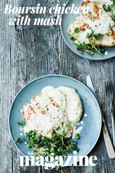 Everyone's favourite soft cheese makes an easy, delicious sauce in this creamy Boursin chicken with mash recipe. The watercress and pea salad adds a lovely freshness to the dish Boursin Recipes, Cheese Recipes, Chicken Recipes, Cooking Recipes, Cooking Ideas, Yummy Recipes, Dinner Recipes, Midweek Meals
